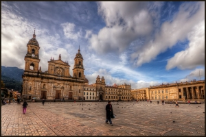 The Plaza de Bolivar is the main square in Bogota, Colombia. I was fortunate to stay close by so I headed out to the plaza in the morning, in the early sun. The church is the main cathedral, Catedral Primada, and the buildng on the right the Congress building. ISO 100, 10mm, f9 (1/400, /1600, 1/400, 1/100) handheld. HDR processed in Photomatix Details Enhancer. Imagenomics Noiseware. The warm look is the result of the Nik Skylight Filter and Indian Summer filters. Sharpened with Smart Sharpen and Freaky Details.
